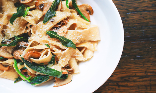 pasta with mushrooms, herbs, and parmesan cheese